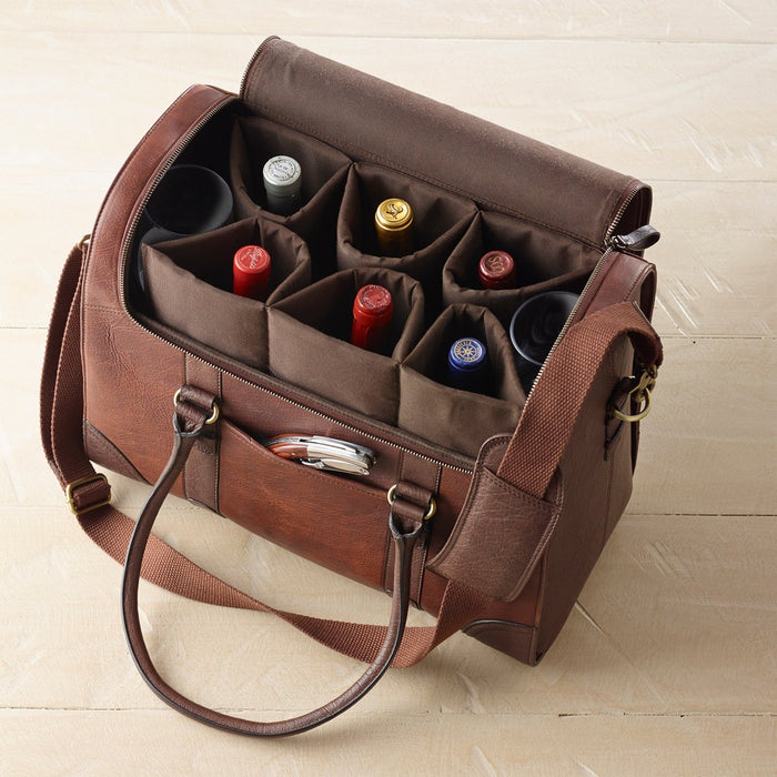 Handcrafted 100% Leather Travel Wine Bag