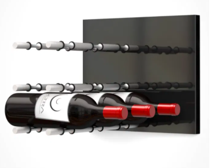 Fusion Wine Wall Panel (Label Forward)—Black Acrylic (9 Bottles)