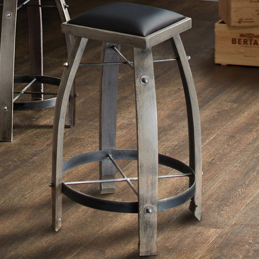 Vintage Oak Wine Barrel Bar Stool (Antique Gray Finish with Black Leather Seat) - 325 12 71