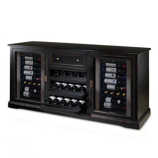 Siena Wine Credenza (Nero) with Two Wine Refrigerators