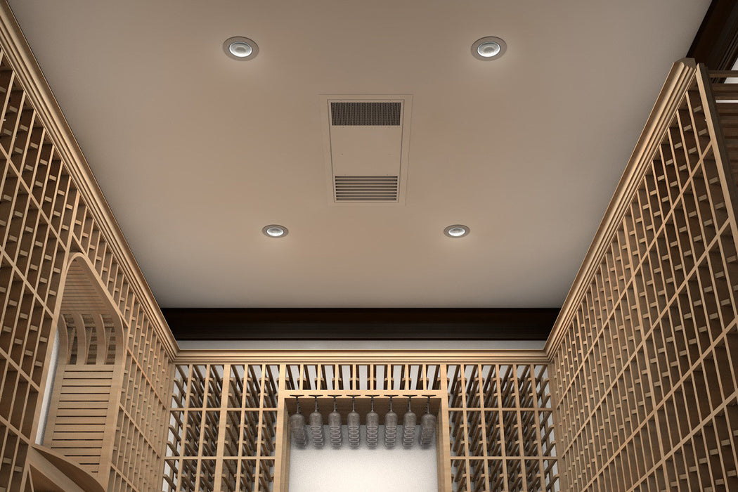 The WhisperKOOL Ceiling Mount 8000 allows you to save space on the walls of your wine cellar