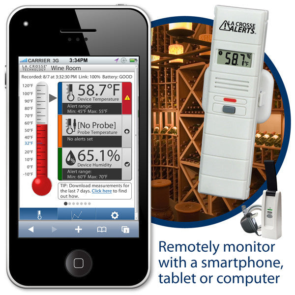 Wine Cellar Wireless Remote Temperature & Humidity Monitor - Wine Cooler Plus