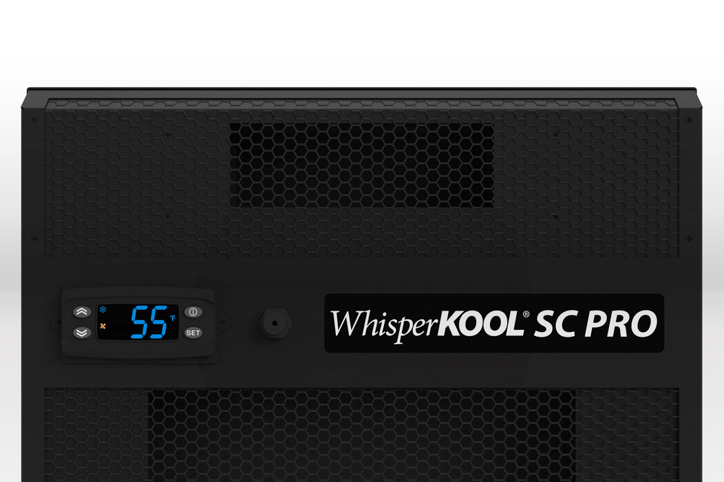 WhisperKOOL SC PRO 3000 Self-Contained Wine Cellar Refrigeration controller close up view