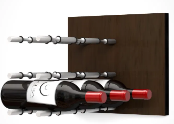 Fusion Wine Wall Panel (Label Forward) - Dark Finish (9 Bottles)