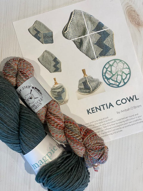 Kentia Cowl Kit 15:  Magpie Fibers Nest Worsted Twilight Magpie/Spincycle Dream State Mississippi Marsala