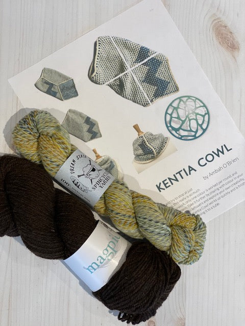 Kentia Cowl Kit 1:  Magpie Fibers Nest Worsted Natural Midnight/Spincycle Dream State Deep Bump