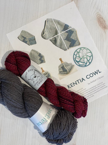Kentia Cowl Kit 3:  Magpie Fibers Nest Worsted Twilight Cinder/Spincycle Dream State Nostalgia