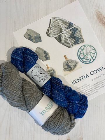 Kentia Cowl Kit 6:  Magpie Fibers Nest Worsted Natural Twilight/Spincycle Dream State Lapis