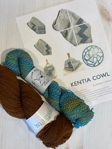 Kentia Cowl Kit 20:  Magpie Fibers Nest Worsted Twilight Beaver/Spincycle Dream State The Family Jewels