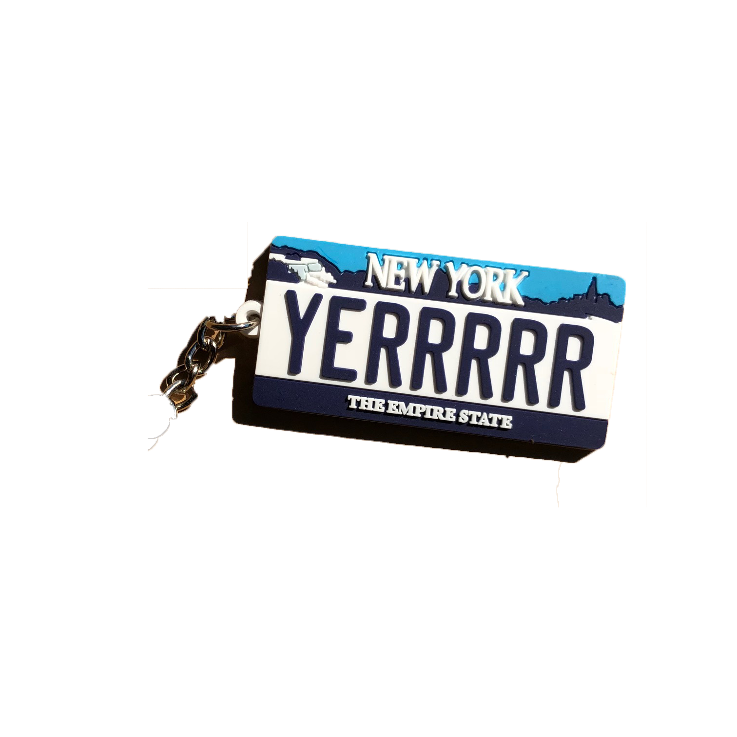 NYC Plate Keychain (White)