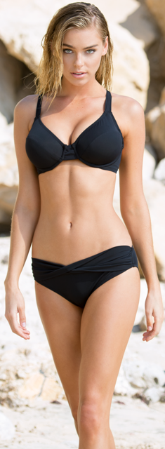 Black 57T Underwire Bra Sized Swim Top