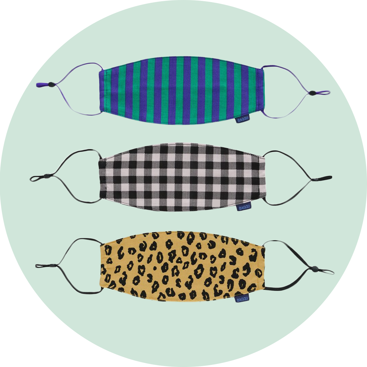 Baggu Fabric Mask Set Loop Gingham, Leopard, & Stripes