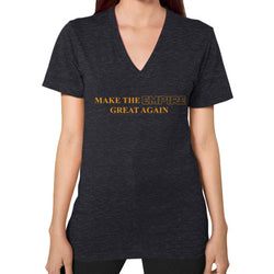 Make the Empire Great Again V-Neck (on woman) Tri-Blend Black T and Biscuits