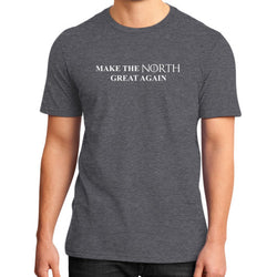 Make the North Great Again District T-Shirt (on man) Heather charcoal T and Biscuits