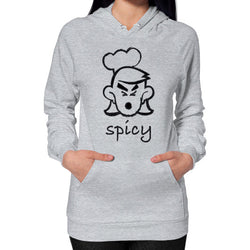 Spicy Gal Hoodie (on woman) Heather grey T and Biscuits