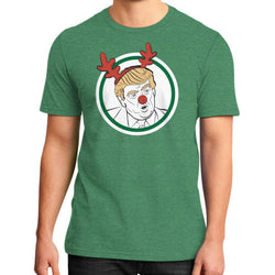Trump Reindeer District T-Shirt (on man) Heather green T and Biscuits