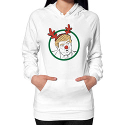 Trump Reindeer Hoodie (on woman) White T and Biscuits