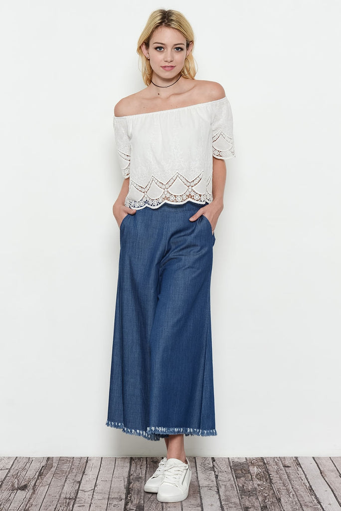 Ivory Off Shoulder Eyelet Top Front 2