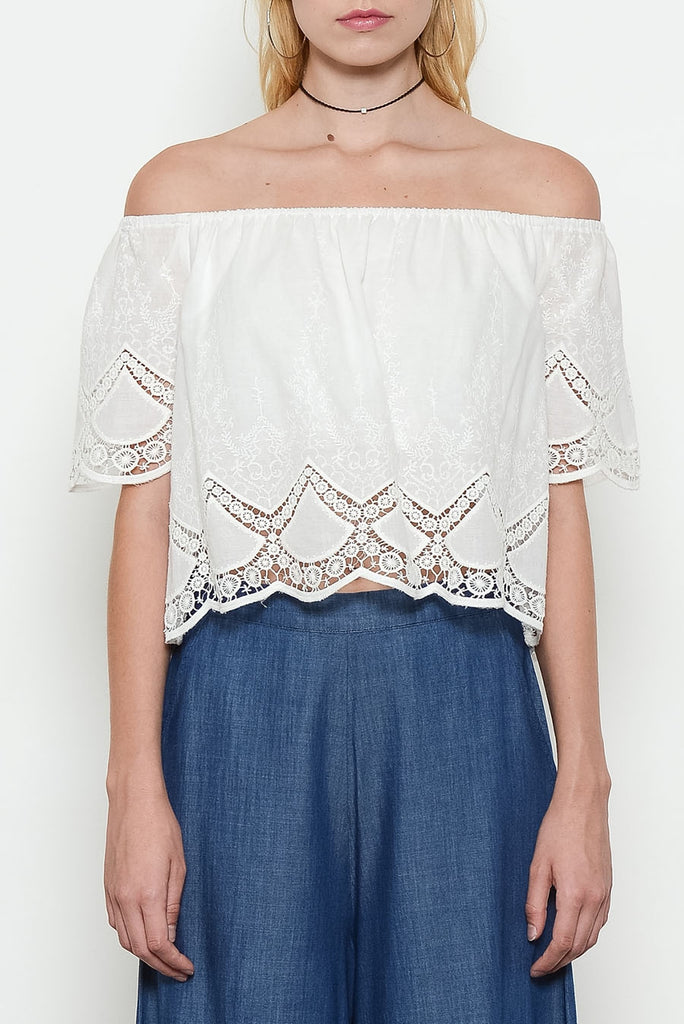 Ivory Off Shoulder Eyelet Top Close Up