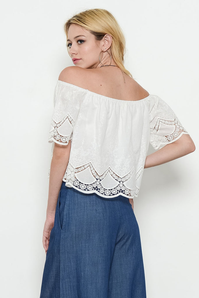 Ivory Off Shoulder Eyelet Top Back