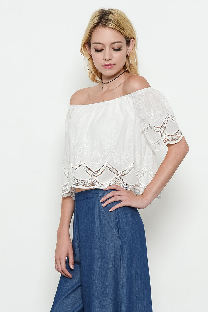 Ivory Off Shoulder Eyelet Top Front 3
