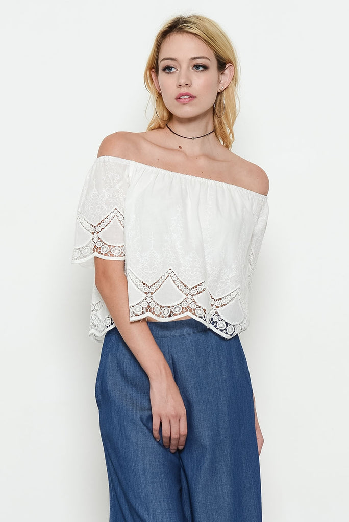 Ivory Off Shoulder Eyelet Top Front