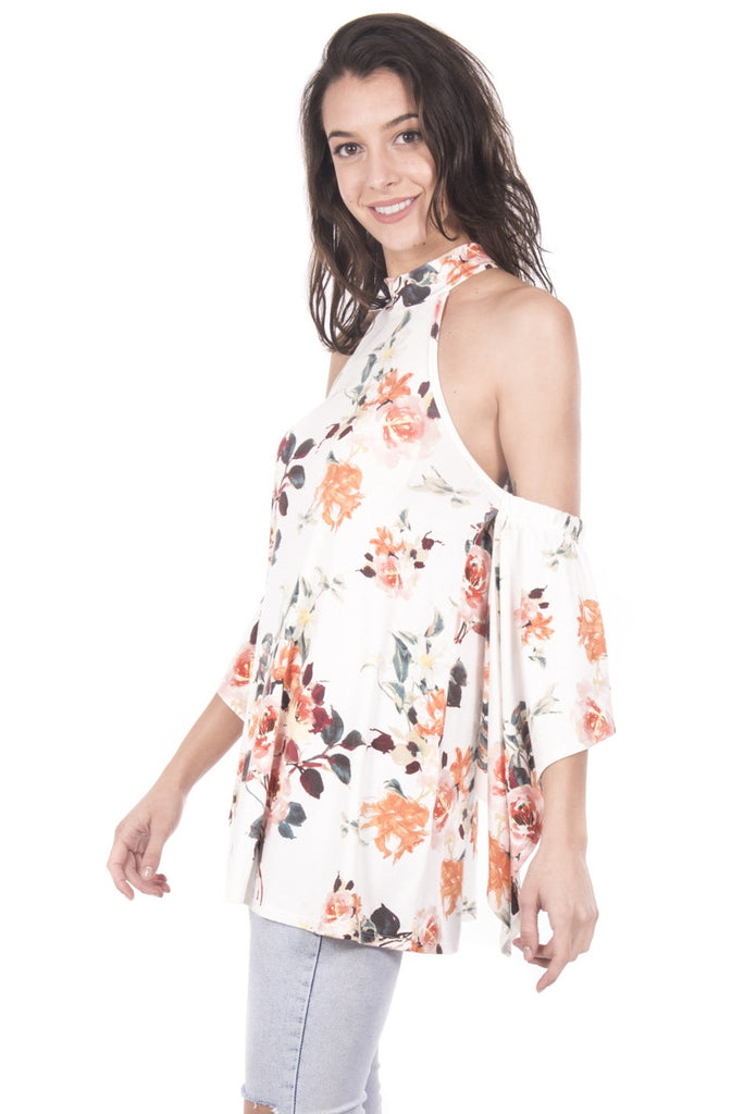 Floral Cold Shoulder Bell Sleeve with A-Line Top Left Side