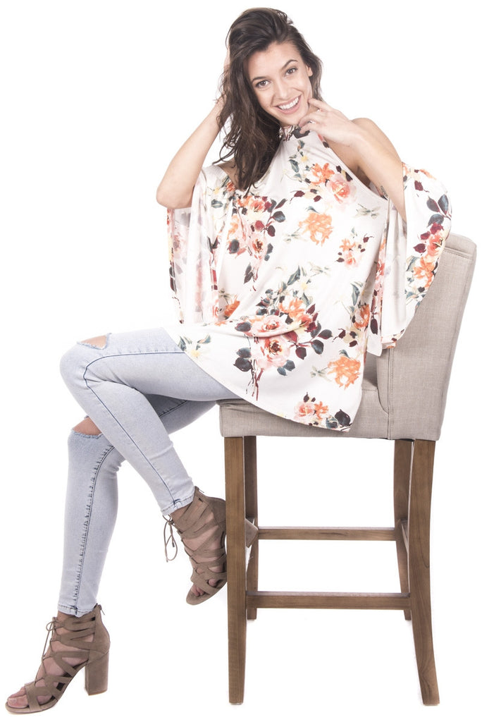 Floral Cold Shoulder Bell Sleeve with A-Line Top Left Side Angled