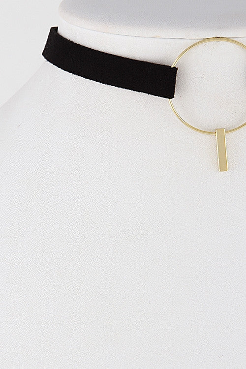 Gold Choker with Circle Emblem Front Close Up