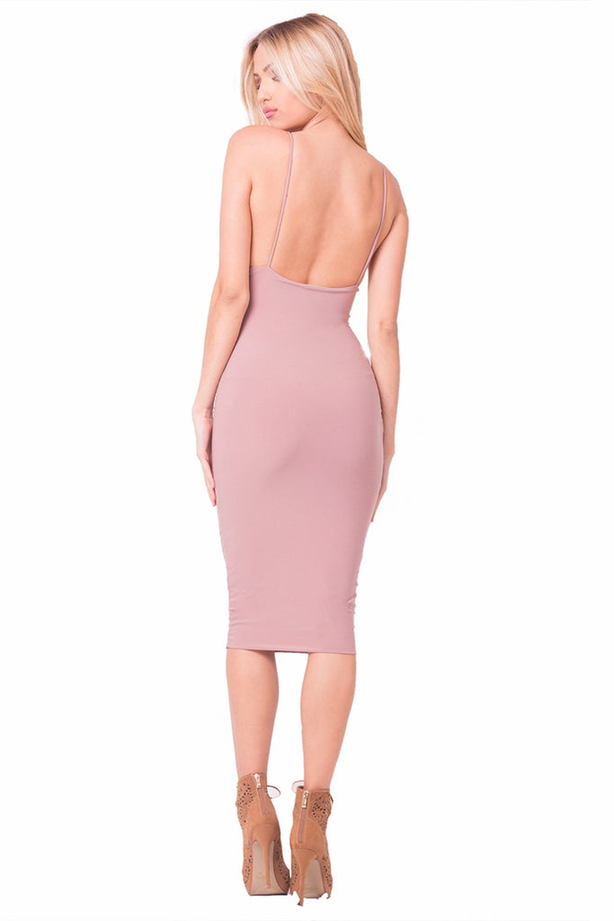 Mauve Flawless Midi Dress Back