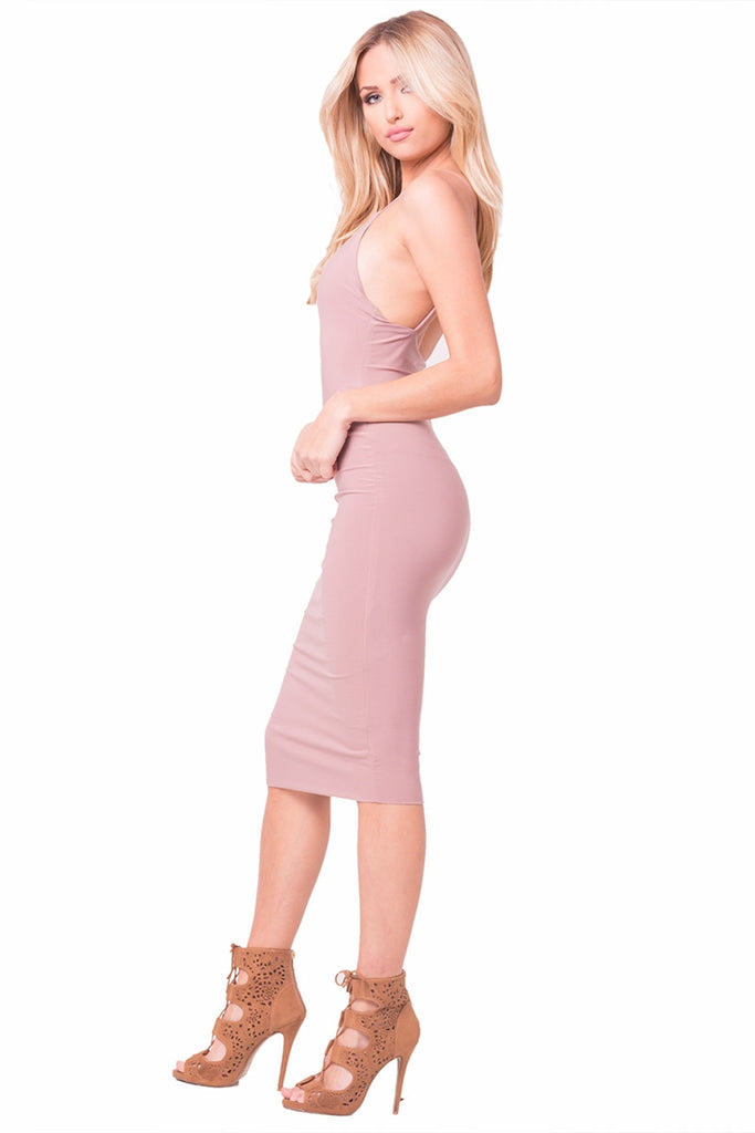 Mauve Flawless Midi Dress Left Side
