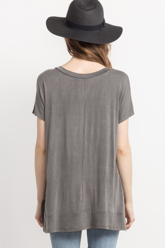 Grey Cutout, Detailed, V-neck Top Back