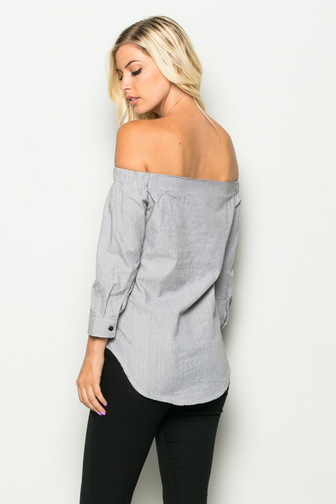 Off The Shoulder Button Top Back