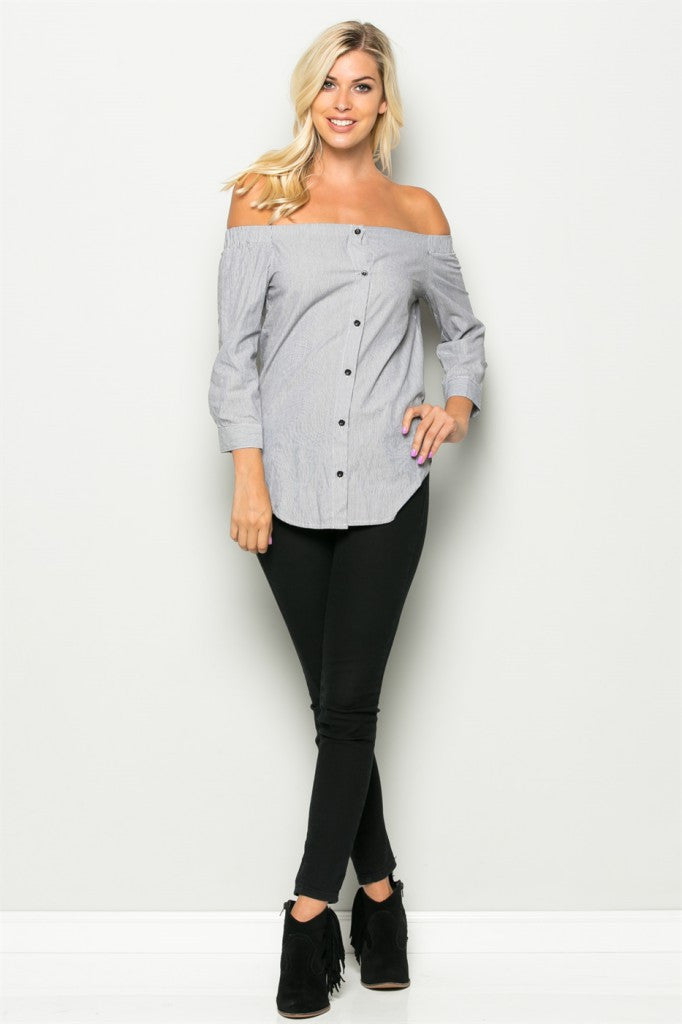 Off The Shoulder Button Top Front 2