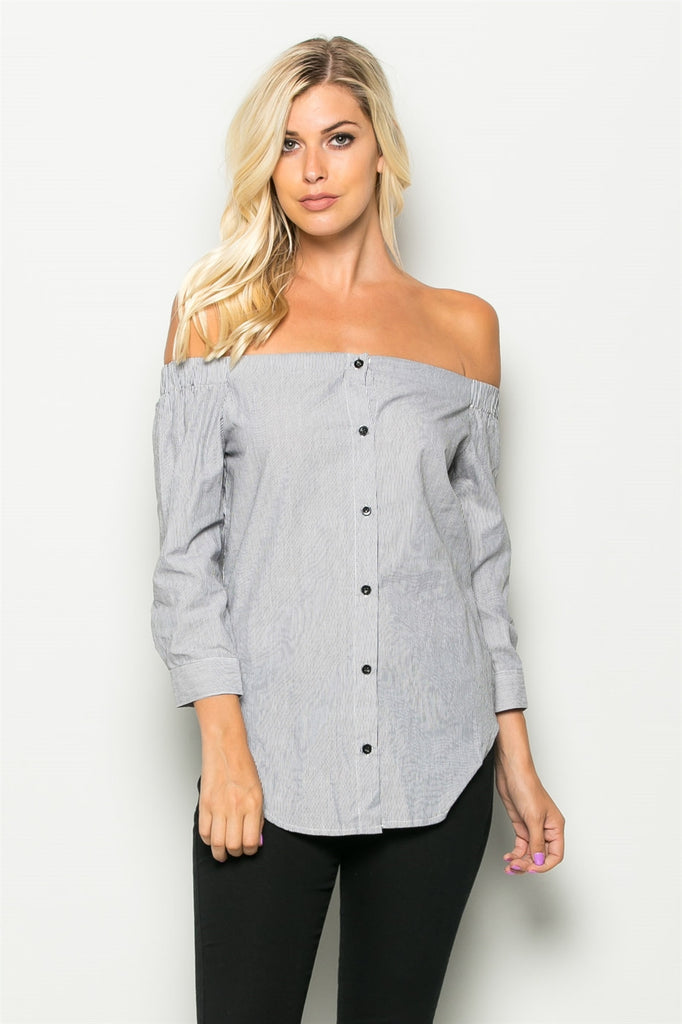 Off The Shoulder Button Top Front