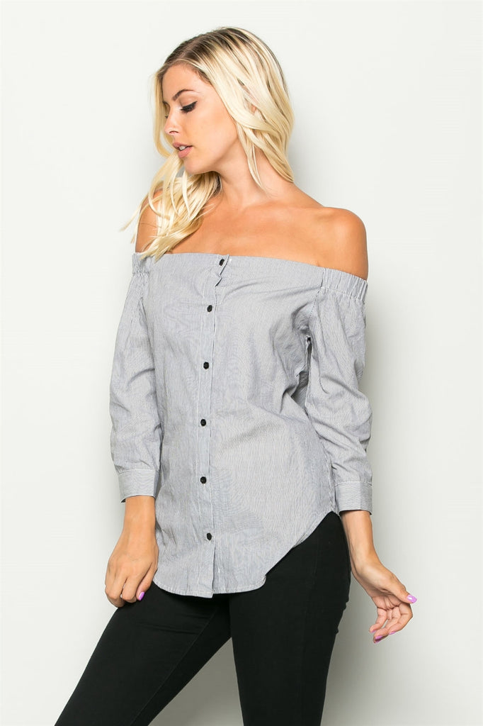 Off The Shoulder Button Top Front Angled