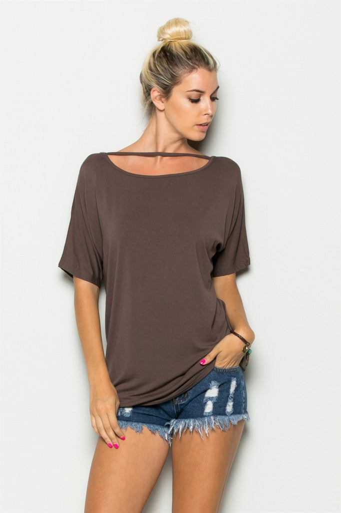 Mocha Neck Line String Tunic Front 2