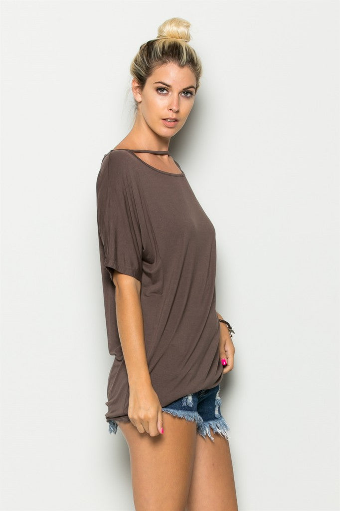 Mocha Neck Line String Tunic Right Side