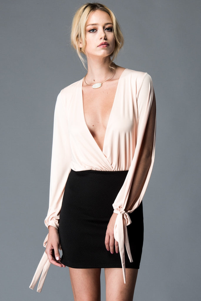 Plunging Neckline Blush Long Sleeve Bodysuit Front 2