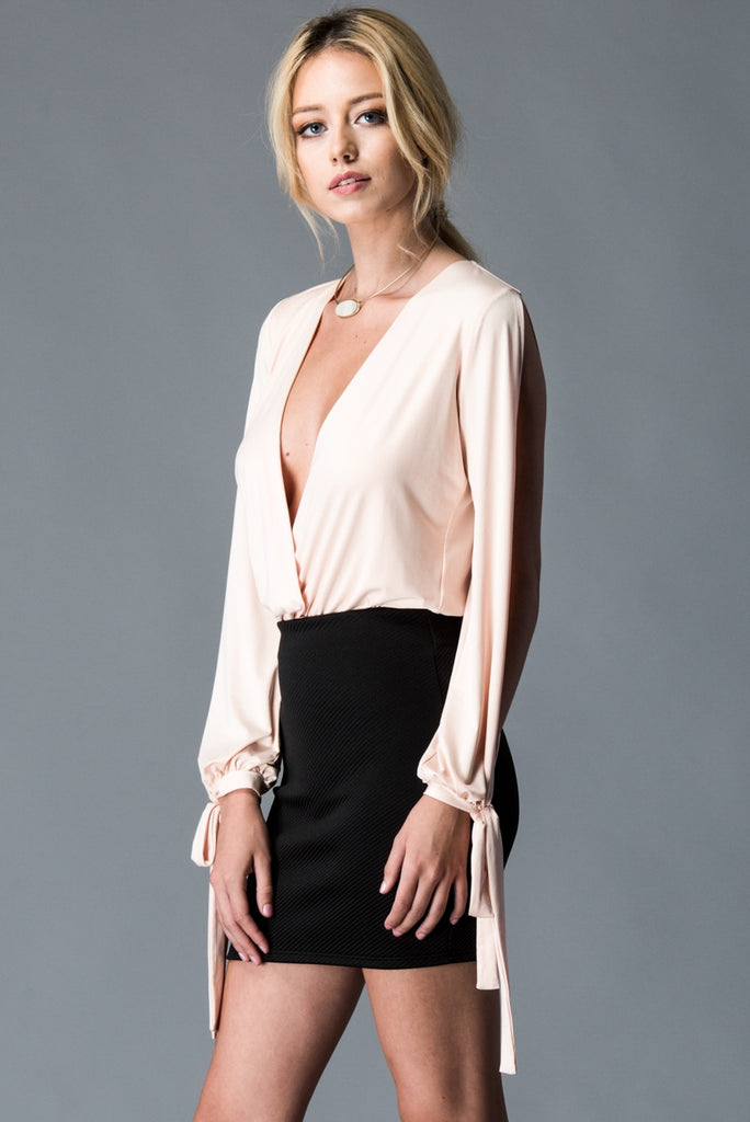 Plunging Neckline Blush Long Sleeve Bodysuit Left Side