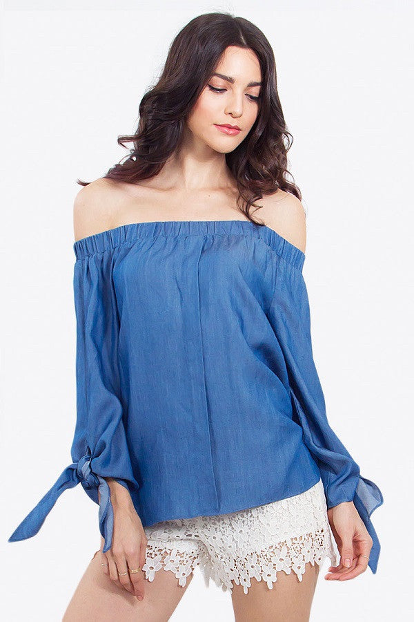 Denim Chambray Off The Shoulder Top Front