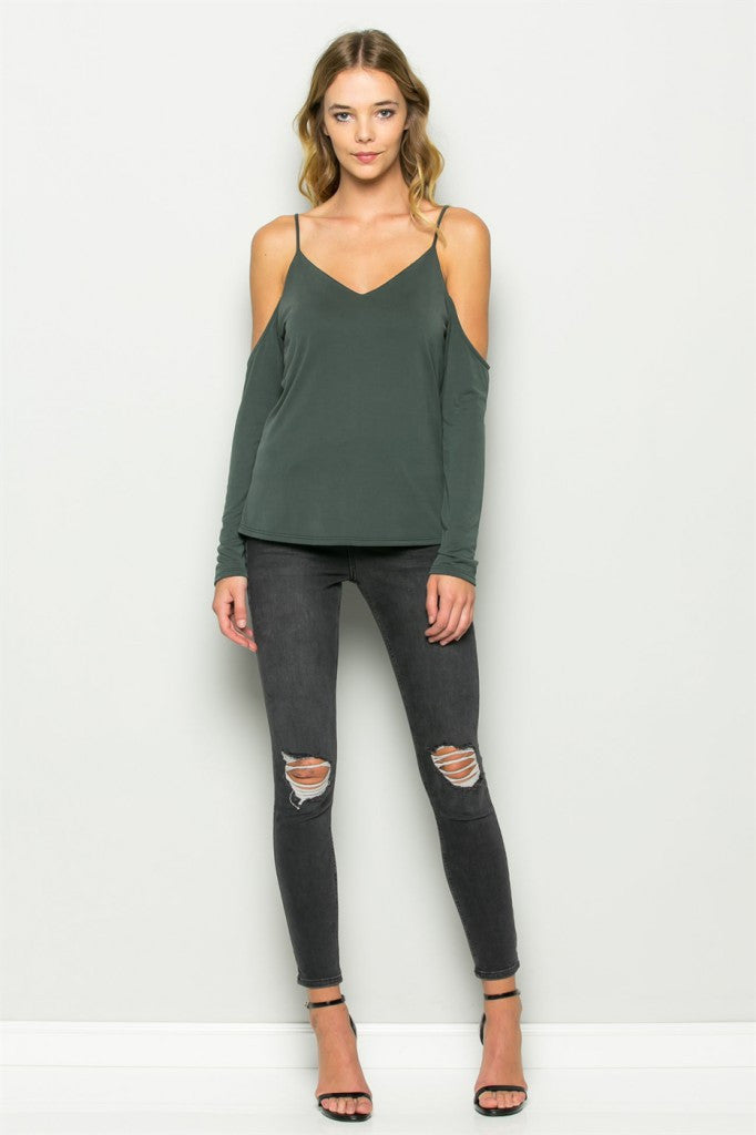 Olive Cold Shoulder V-Neck Tank Front 2