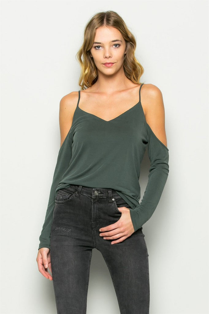 Olive Cold Shoulder V-Neck Tank Front