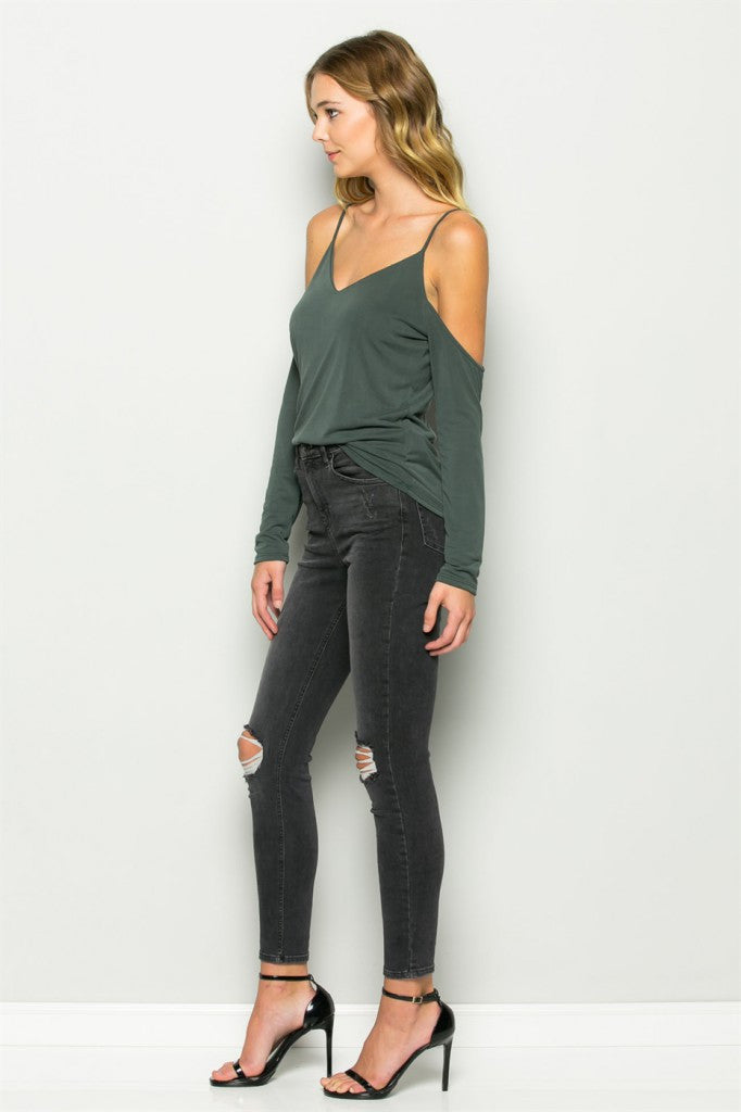 Olive Cold Shoulder V-Neck Tank Left Side