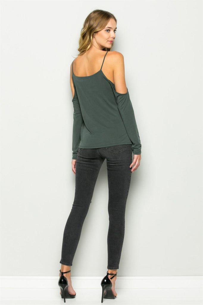 Olive Cold Shoulder V-Neck Tank Back