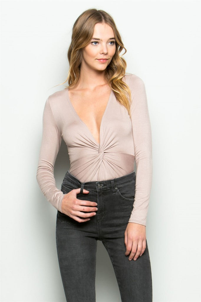 Blush Twist Front Bodysuit Front