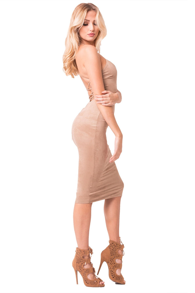 Mocha Faux Suede Midi Dress Right Side