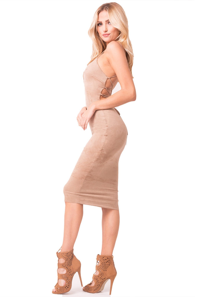 Mocha Faux Suede Midi Dress Left Side