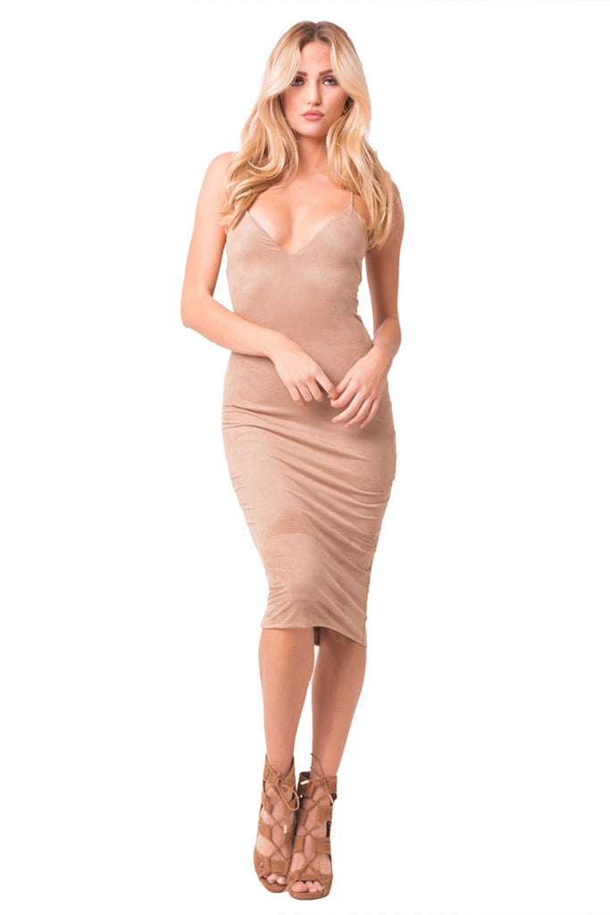 Mocha Faux Suede Midi Dress Front