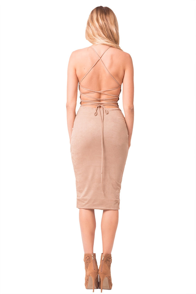 Mocha Faux Suede Midi Dress Back